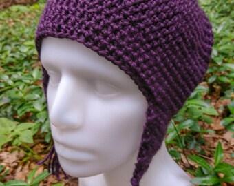 Crocheted ear flap hat, size L