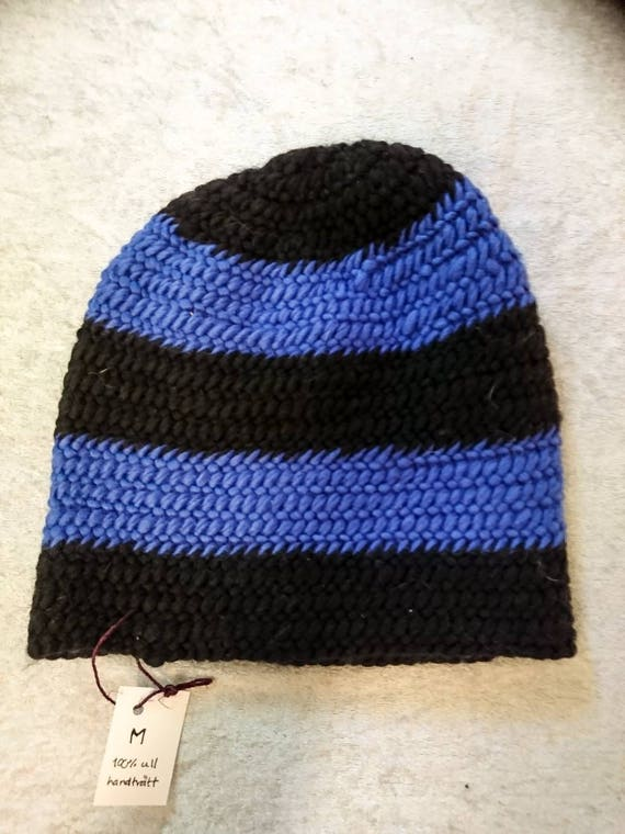bfa957e39c1 Size M needlebound wool slouchy hat black and blue