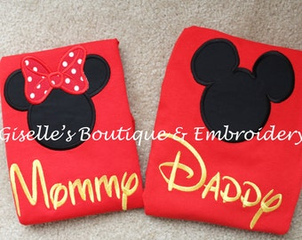 Mommy and Daddy Mickey and Minnie Mouse Red T-Shirts  - Personalized Shirt