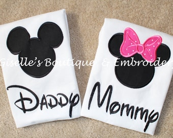 Mommy and Daddy Mickey and Minnie Mouse T-Shirts  - Personalized Shirt