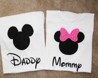 Mommy and Daddy Mickey and Minnie Mouse T-Shirts - Mommy V-neck
