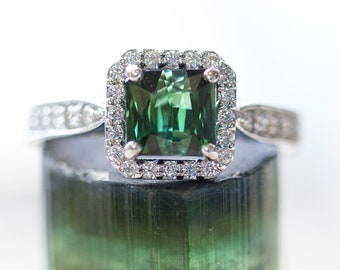 Brazilian Green Tourmaline and Diamond Halo Ring, 14k, Unique Engagement Ring, October Birthday, October Birthstone, Green Engagement Ring
