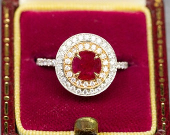Ruby and Diamond Double Halo Ring in 18K, Ruby Engagement Ring, Rose and White Gold, July Birthstone, Right Hand Ring, Natural Ruby, Gift