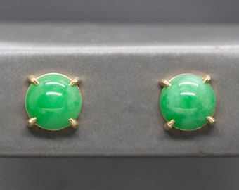 11mm Round Natural Green Jade Cabochon Gold Claw Stud Earrings 14k, Jadeite Stud Earrings, Minimalist Bold Green Earrings, Gift for Her