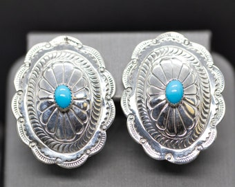 65f17ec80 B F Zuni Turquoise Sterling Silver Bold Concho Earrings, Vintage Native  American Engraved Sterling Silver Turquoise Earrings, Stud Earrings