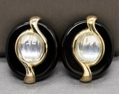 Vintage Kai Yin Lo Onyx and Carved Crystal Quartz Vermeil Clip On Earrings, Black and White Earrings, Gold over Silver, Statement Earrings