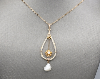 Romantic Victorian Natural Pearl and Old European Cut Lavalier Necklace in 14k Yellow Gold, Wedding Necklace, Delicate and Dainty Necklace