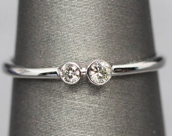 Petite Double Diamond Bezel Set Stackable Ring, Two Stone Engagement Ring, White Gold Stacking Ring, April Birthstone, Tiny Diamond Ring 14k