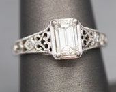 GIA Certified Emerald Cut Diamond Engagement Ring with Filigree Detail in 14k White Gold, 1.13ct K VS2 Emerald Cut Diamond Ring, Low Profile