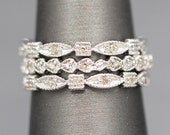 Set of Three Stackable Diamond Accent Band Rings in 14k White Gold, Set of Stacking Rings, Wedding Stack Rings, Right Hand Rings, Stackable