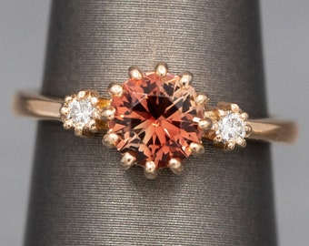 fe42800df STUNNING Oregon Sunstone and Diamond Ring in 14k Rose Gold, Sunstone  Engagement Ring, Three Stone Ring, Oregon State Gemstone, Gift for Her