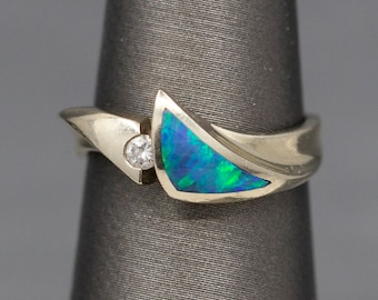 Vibrant Australian Blue Opal Inlay and Diamond Band Ring in 14k White Gold
