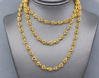 """Exquisite Handcrafted Cannetille Link Chain Necklace in 18k Yellow Gold 32"""", Wedding Necklace, Layering Necklace, Unique Chain Necklace"""