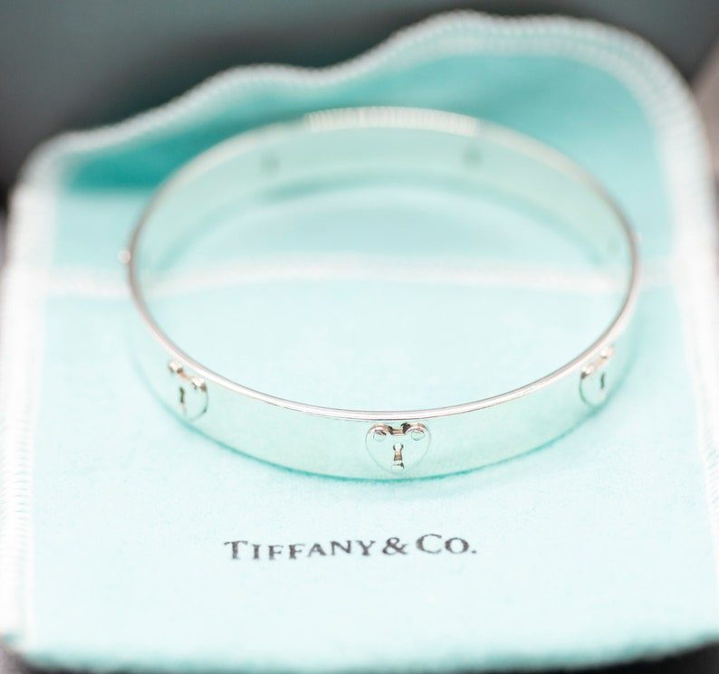 0f42744ad RARE Tiffany and Co Heart Lock Key Bangle Sterling Silver Size | Etsy