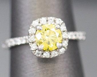 1.25ctw Yellow Diamond Halo Platinum Engagement Ring, Yellow Diamond Engagement Ring, Yellow Diamond Halo, Yellow Diamond Platinum Ring