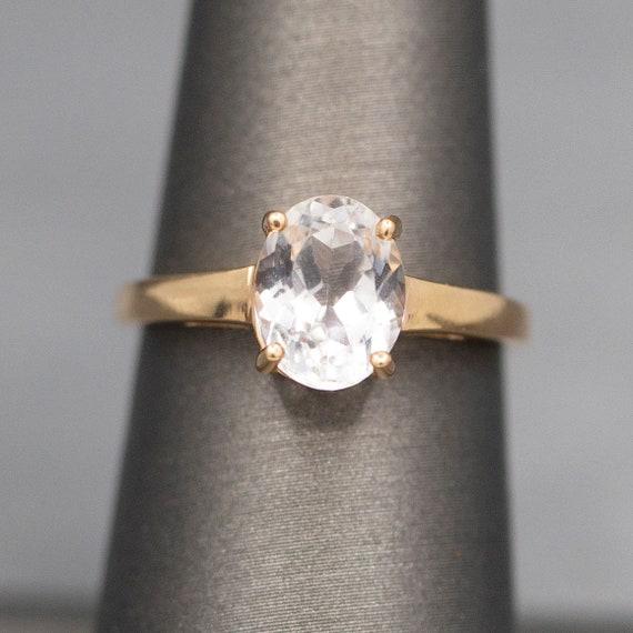 Icy Aquamarine Solitaire Ring in 14k Rose Gold, Ov