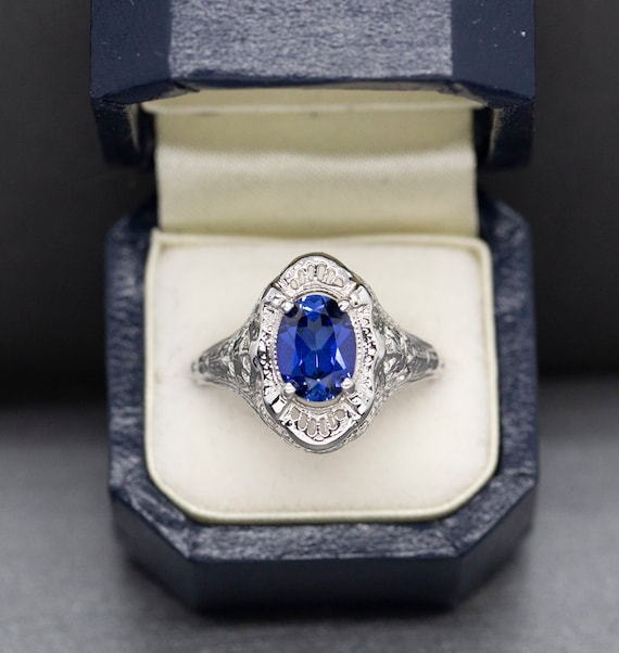 Blue Sapphire Ring Asymmetric Ring Blue Diamond Ring Sapphire Ring Vintage Ring Created Sapphire Two Stone Ring Solid Silver Ring
