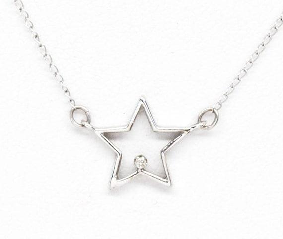 "10K Star Diamond Necklace 15"", Diamond Star Neckla"