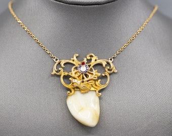 Edwardian Fraternal Order of Elks Elk's Tooth & Enamel Pendant Necklace in 14k