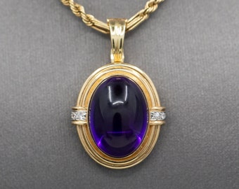 Gorgeous Glowing Vintage Amethyst Cabochon and Diamond Accent Pendant Enhancer in 14k Yellow Gold