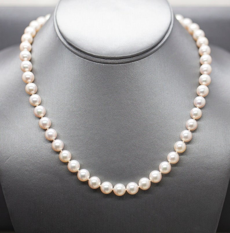 bae45b03be9a4 Top Quality Classic Akoya Pearl Necklace with Diamond Clasp in 18k, 8.25mm  Salt Water Pearl Strand 18