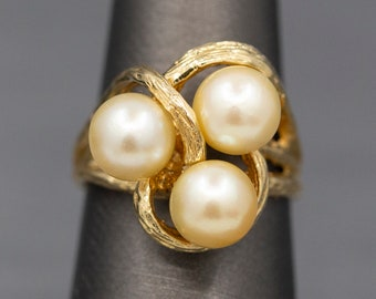 Triple Golden Pearl Textured Cocktail Ring in 14k Yellow Gold