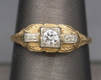 Vintage Late Art Deco Two Tone Old European Cut Diamond Solitaire Engagement Ring in 14k White and Yellow Gold