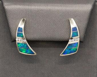 Blue Fire Australian Opal Inlay and Diamond Earrings in 14k White Gold
