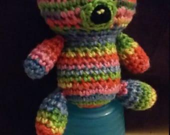 Hand Crocheted Mini Rainbow Teddy Bear - Adopt one today!