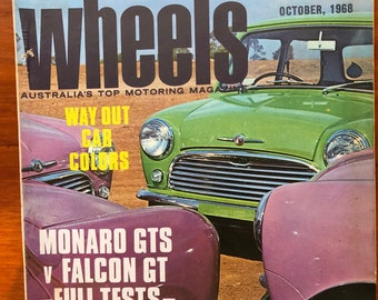 December 1968 Wheels Magazine featuring Leyland Mini on the Cover. Great Fathers Day Gift Idea for the Car Lover in Your Life
