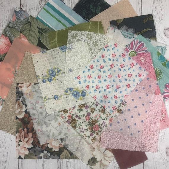 Vintage Floral Fabric Scraps. Junk Journal or Slow Stitching Bundle. Australia Seller