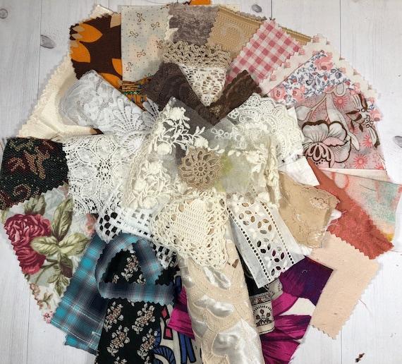 Fabric Scraps LARGE Pack - Vintage Fabric Scrap Bundle (with Lace Scraps). Junk Journal or Slow Stitching. Australia Seller