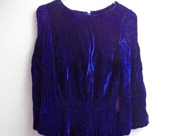 Brilliant Blue Velvet Top and Skirt