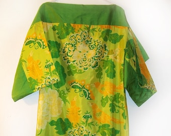 Thai Silk Dress Tropical Extravaganza of Flowers and Parrots