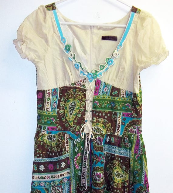 Patchwork green folk dress- Prairie style