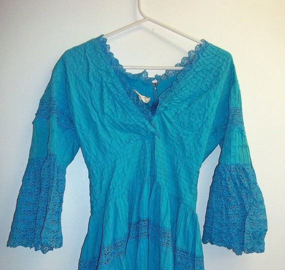 Vintage Turquoise Mexican Dress