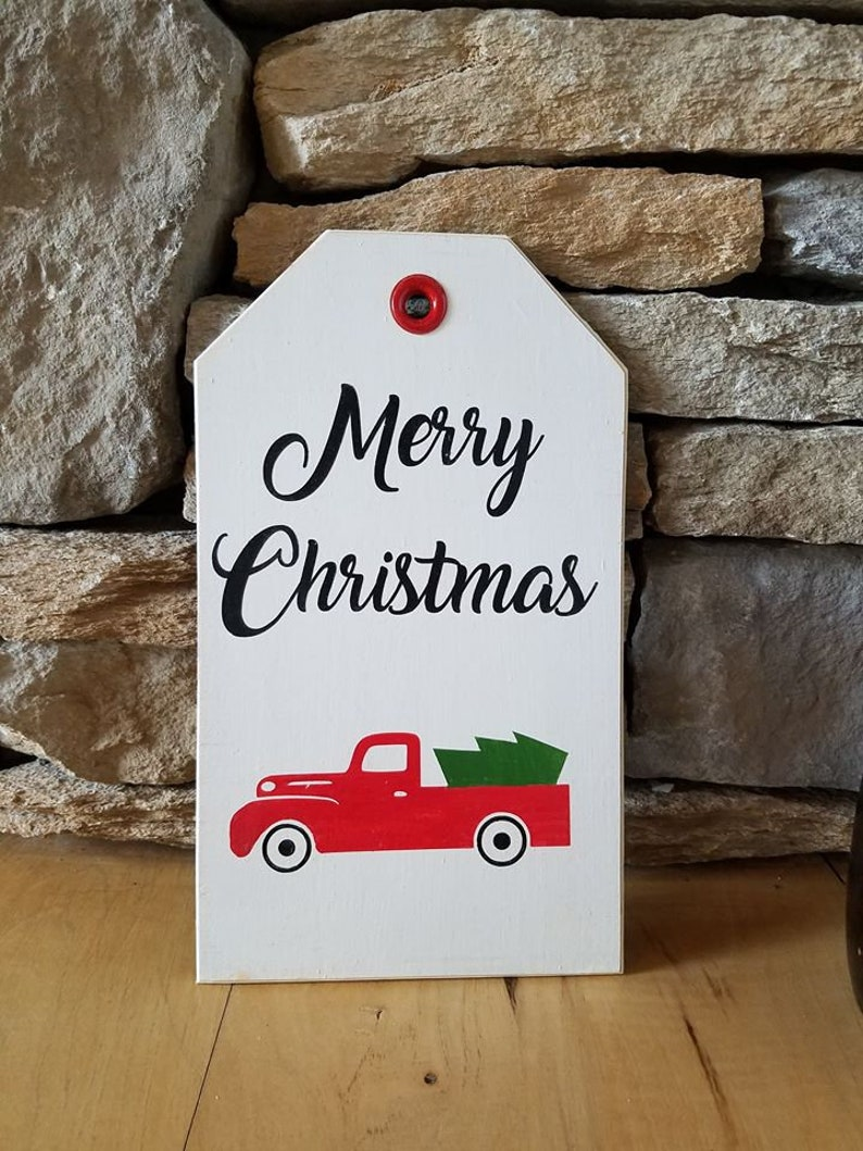 Merry Christmas Red Truck Pick Up Wood Tag Sign Hostess Gift Holiday Wall Hanging Home Decor Decoration Xmas Tradition Traditions Tree