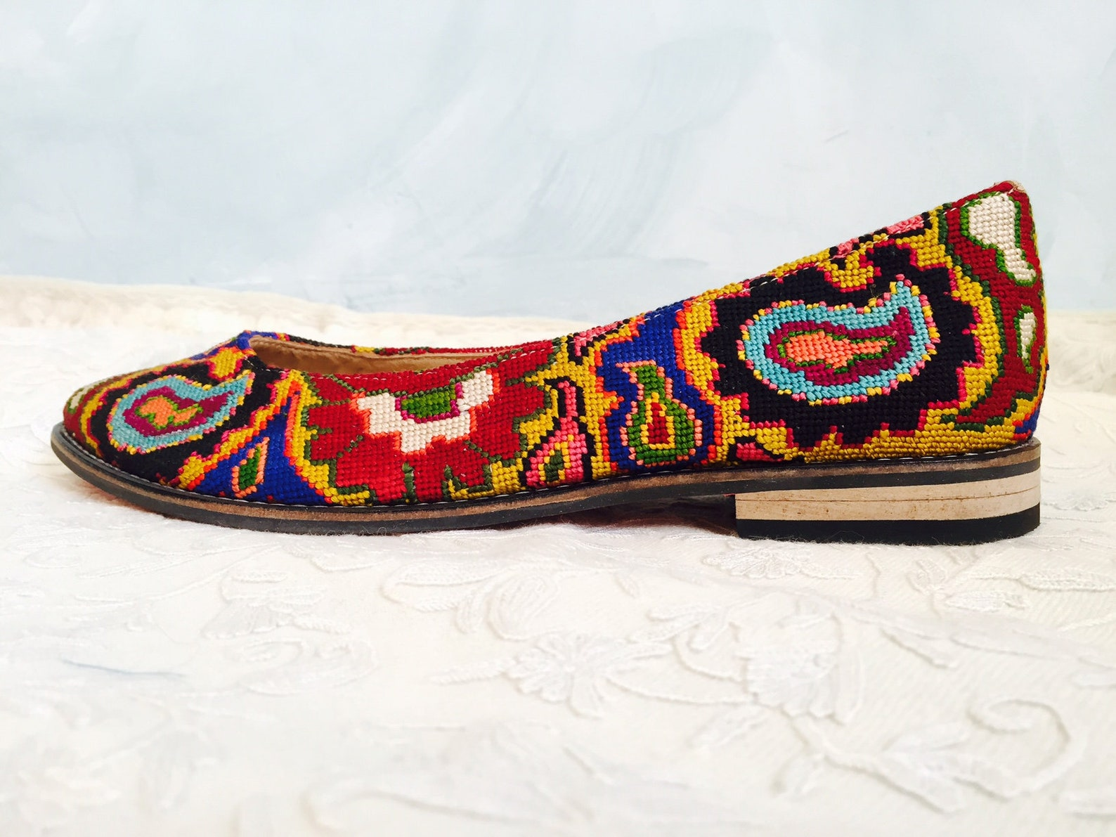 embroidered ballet flats- size 40 (us 9.5) silk petit point uzbekistan boho festival needlepoint ethnic tribal folk suzani flora