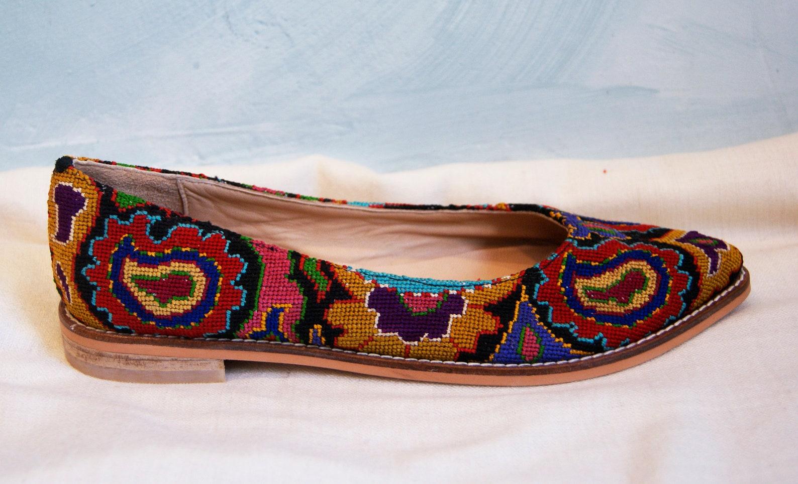 embroidered ballet flats- size 40 (us 9.5) silk petit point uzbekistan boho festival needlepoint ethnic tribal folk suzani flora