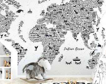 World map wallpaper etsy world map typography wallpaper mural gumiabroncs Choice Image