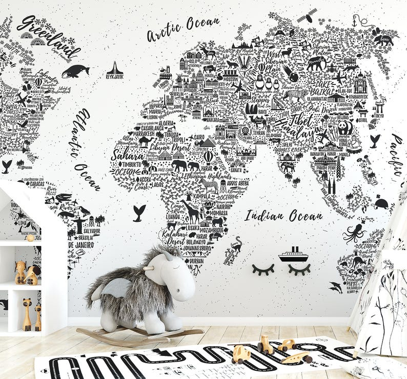 World Map Typography Wallpaper Mural Etsy