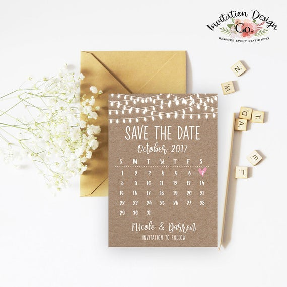 rustic lights calendar save the date invitation ready to print etsy