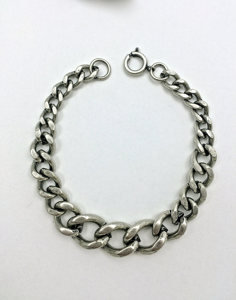 ba0e177588c7c 2pc DIY Chain Bracelet charms// Links // Metal // SilverTone // Bold //  Wide-To-Small // Heavy-Antique // Made In The USA by Winky&Dutch