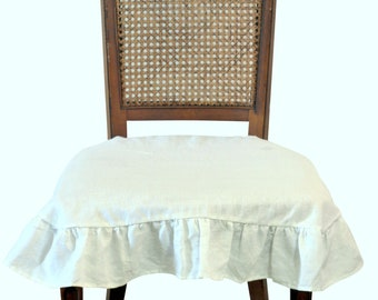 French Linen Chair Seat Cover Slipcover With 4 Sided Ruffle In Off White