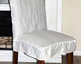 Parson Linen Chair Cover Slipcover In Off White