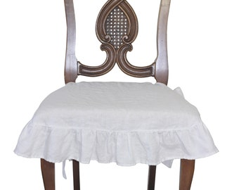 French Linen Chair Seat Cover Slipcover With 4 Sided Ruffle In White