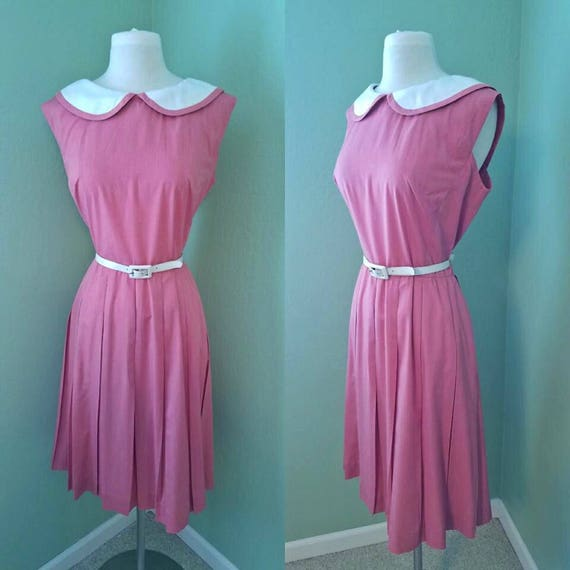 1960s Darling Mode O Day Pink and White Day Dress