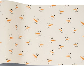 5 sheets of paper with glitter snow snowman Christmas - pretty gift wrap, packaging, packaging