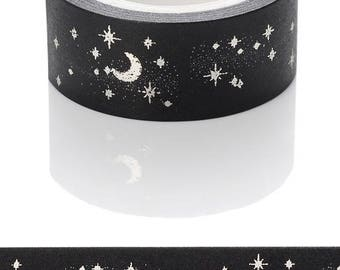 A pretty Washi tape patterns Moon and silver and Black Star - Washi tape silver foil tape moons