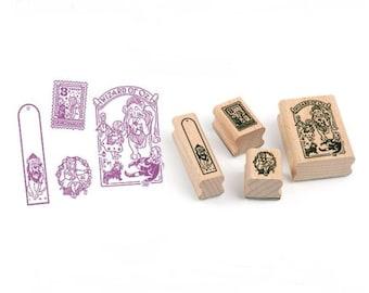 Box of 4 cute little stamps Alice in Wonderland - wonderland stamp